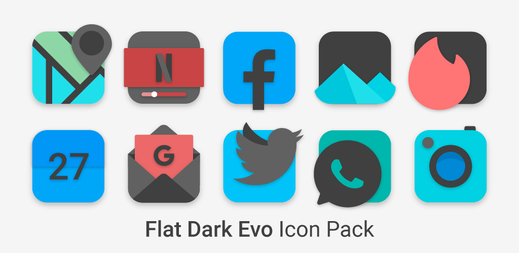 Flat Dark Evo Icon Pack